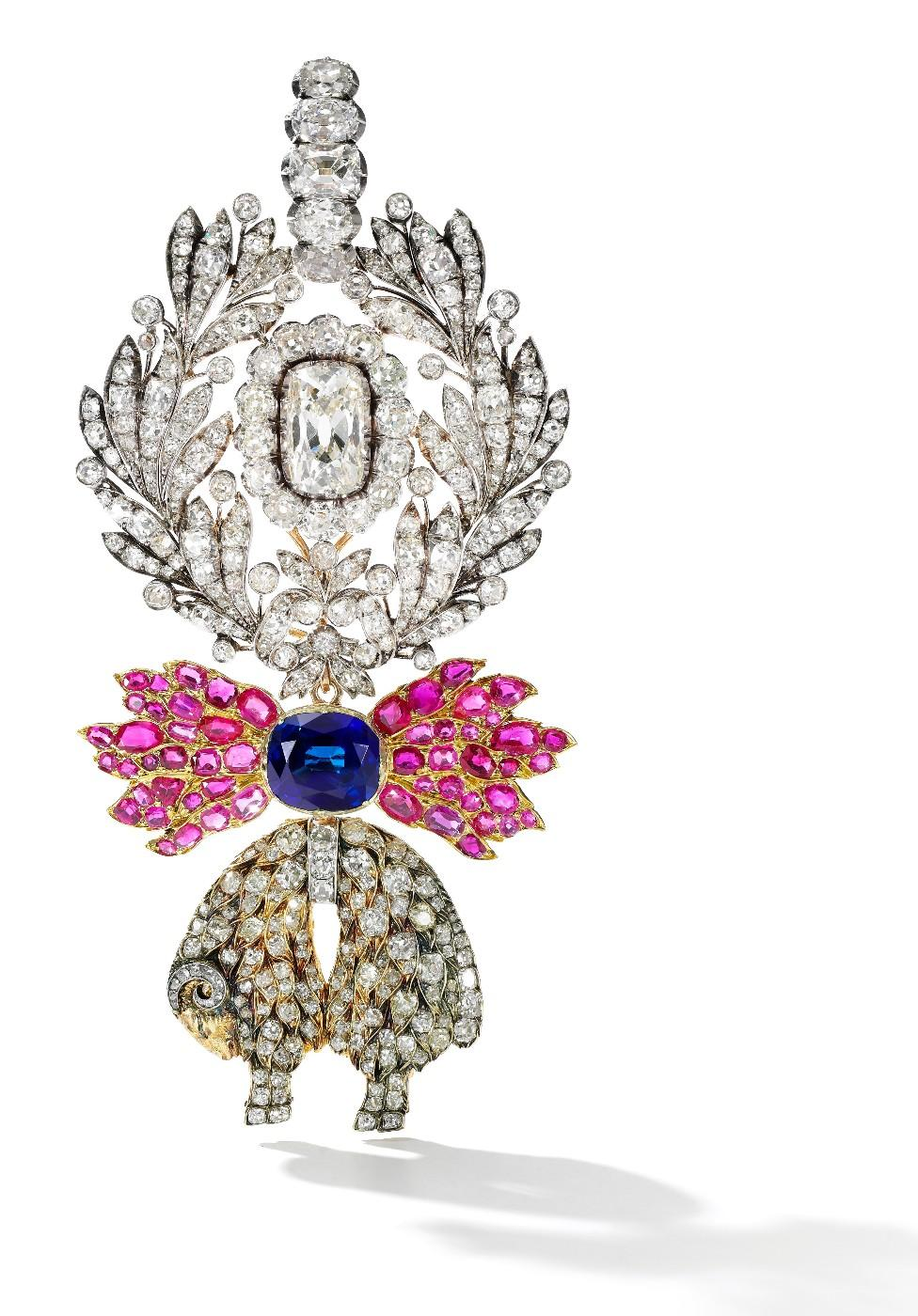 A sapphire, ruby and diamond Order of the Golden Fleece, Austria, and a jewelled neck badge, circa 1825