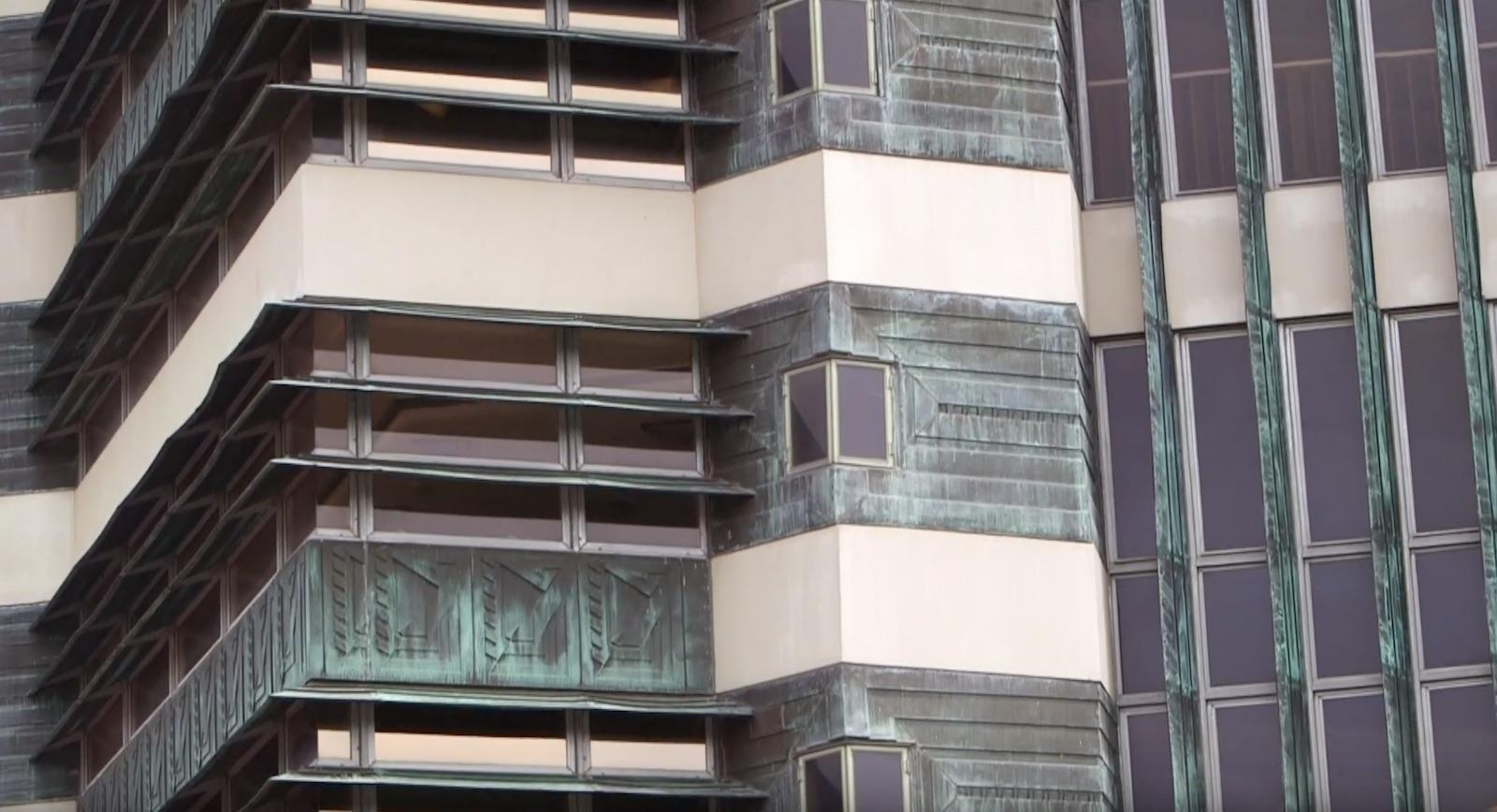 detail of the skyscraper's windows