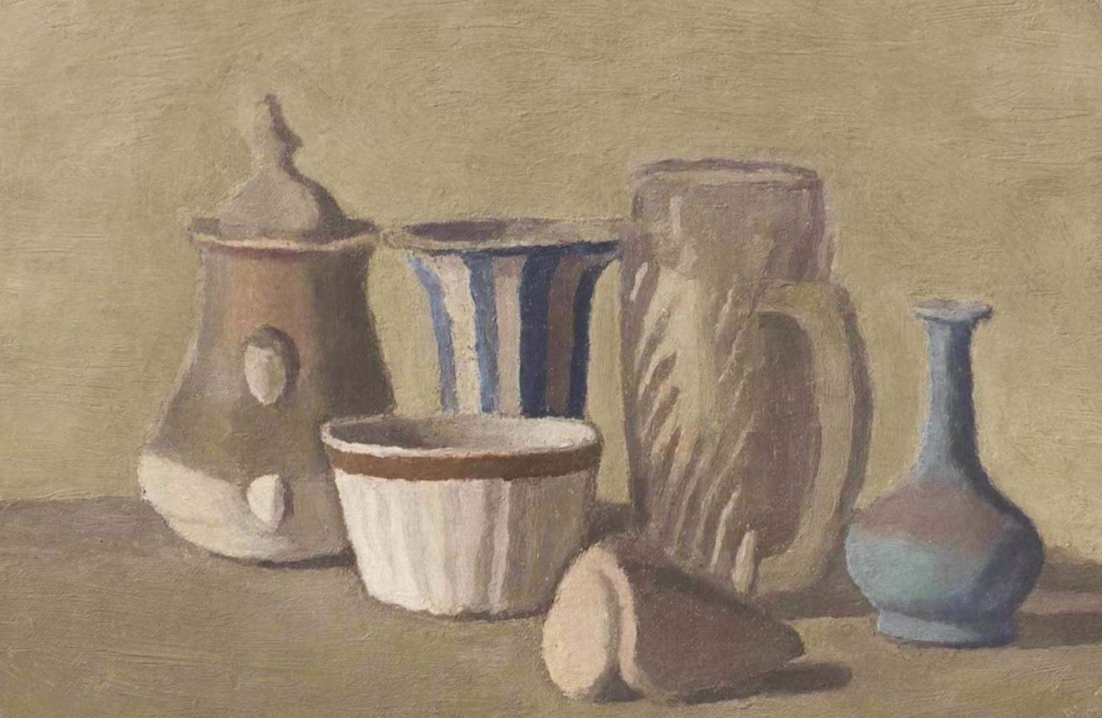still life painting of jars