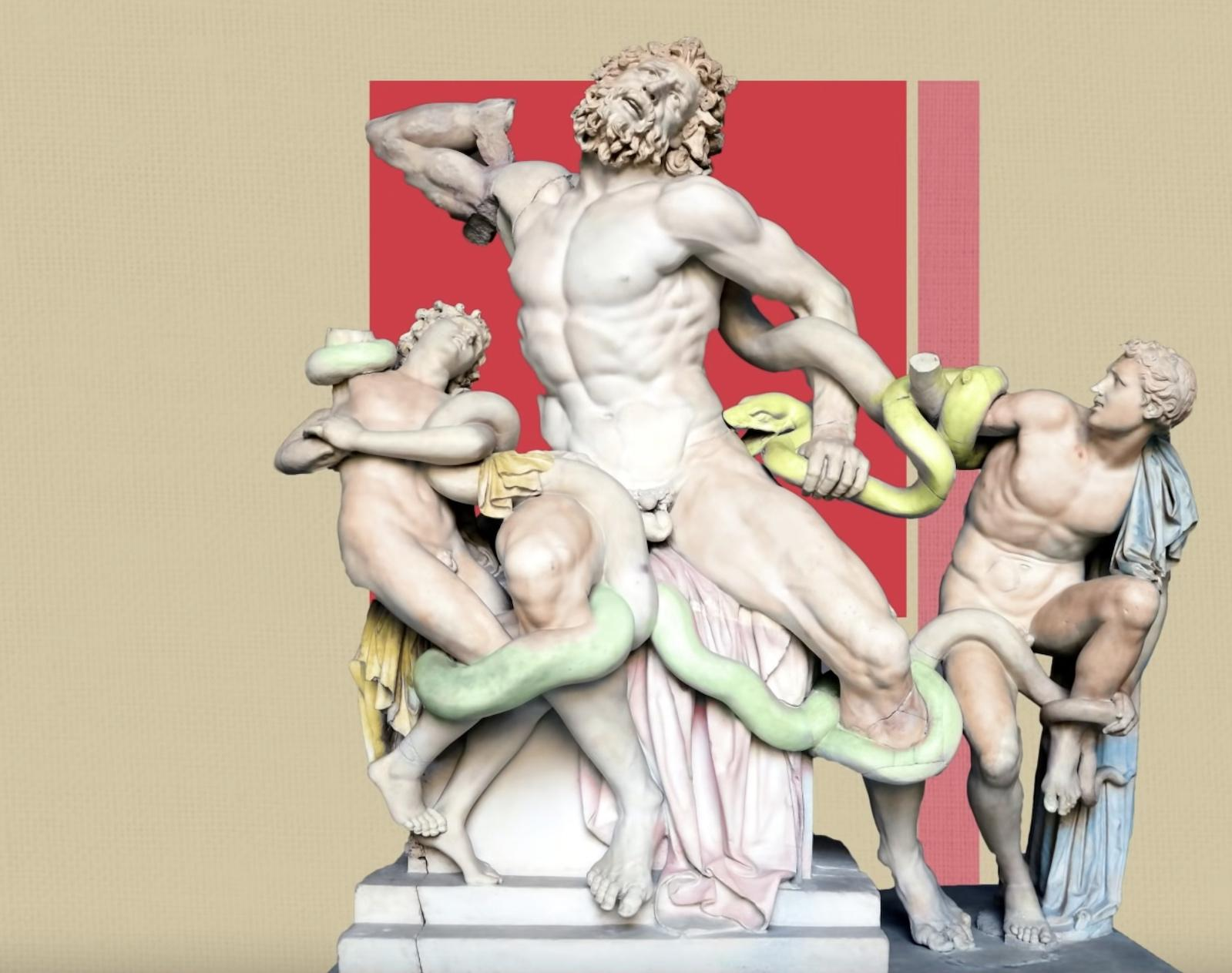 Laocoon and His Sons Statue Painted