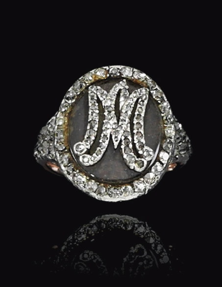 Queen Marie Antionette's diamond and woven hair ring, 18th century