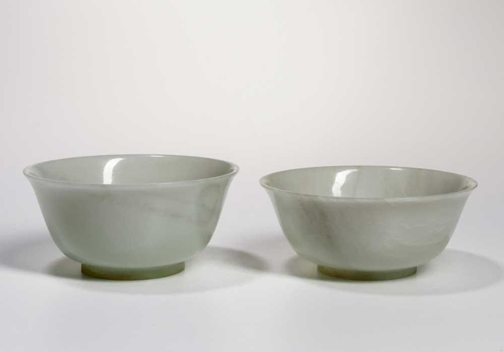 Two White Jade Bowls, China, possibly 18th century