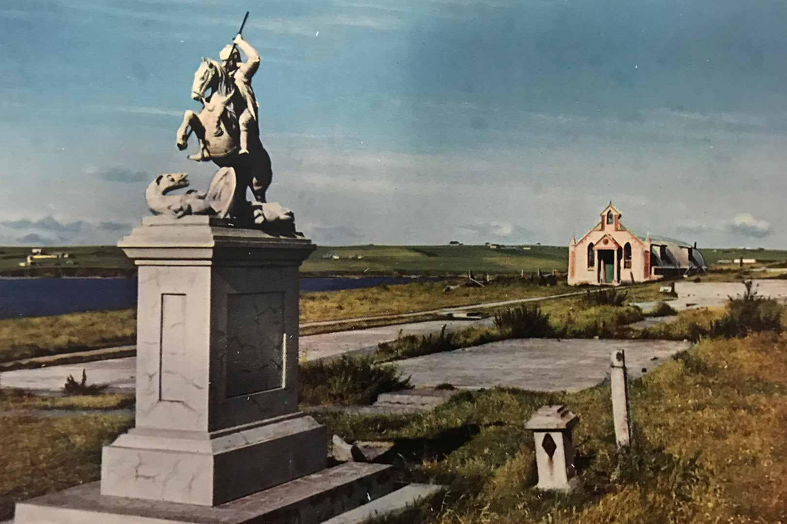 Postcard of the Italian Chapel and statue of St. George on horseback.