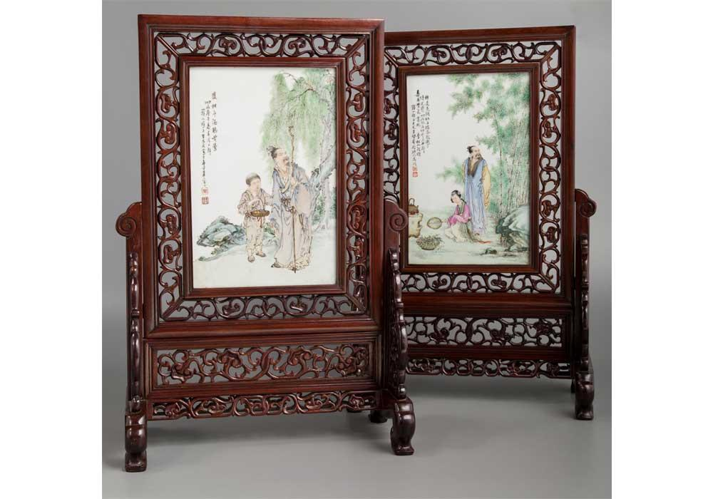 A Pair of Wang Dafan Porcelain and Hardwood Table Screens, Republic Period