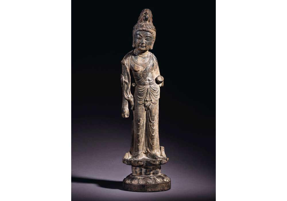 An Important and Very Rare Grey Limestone Figure of Mahasthamaprapta