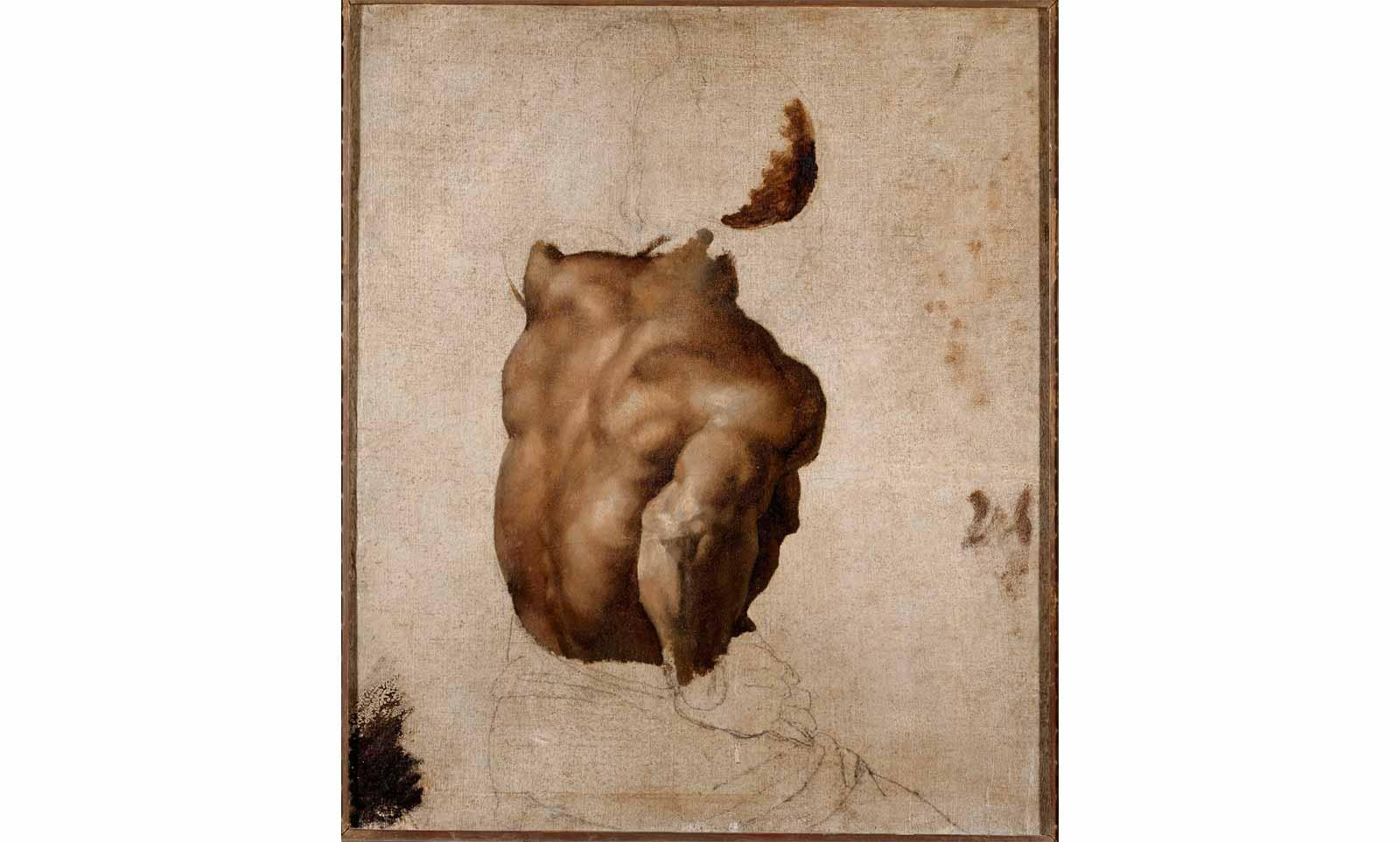 "Théodore Géricault (1791-1824), Back study (after the model Joseph) for ""The Raft of the Medusa"", circa 1818-1819"