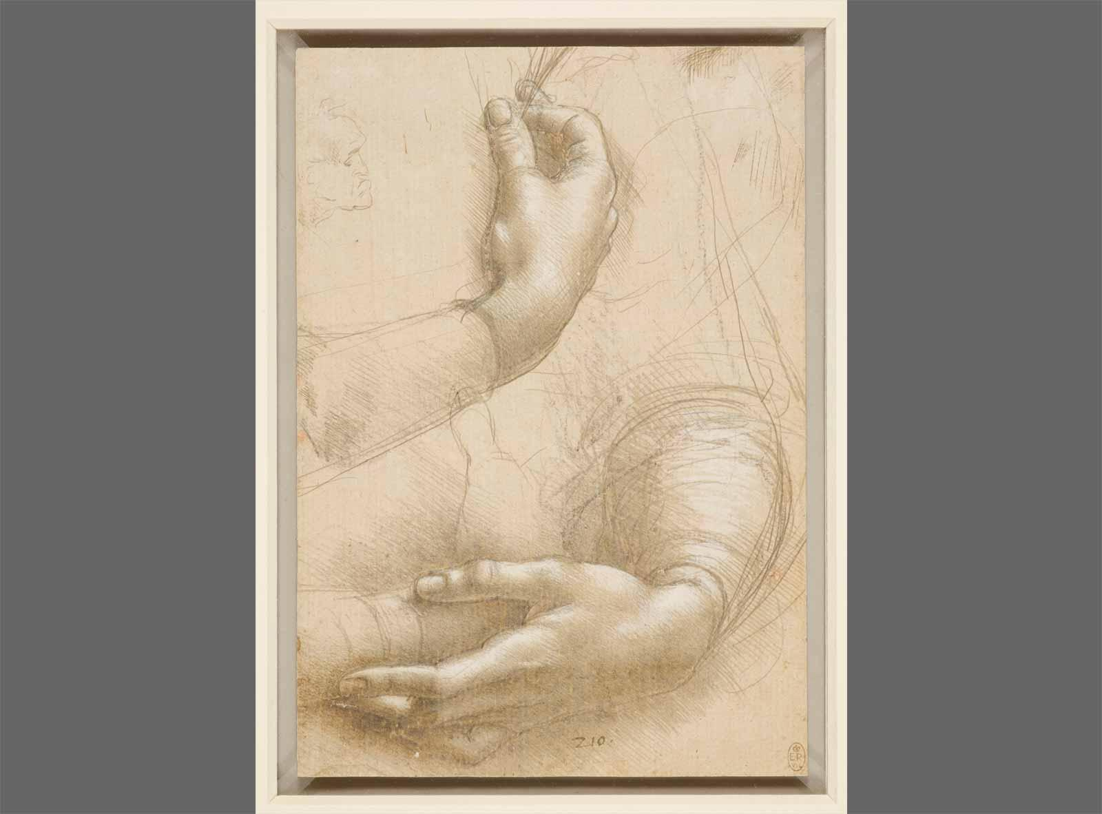 Leonardo da Vinci Woman's Arms and Hands; a Small Man's Head in Profile.