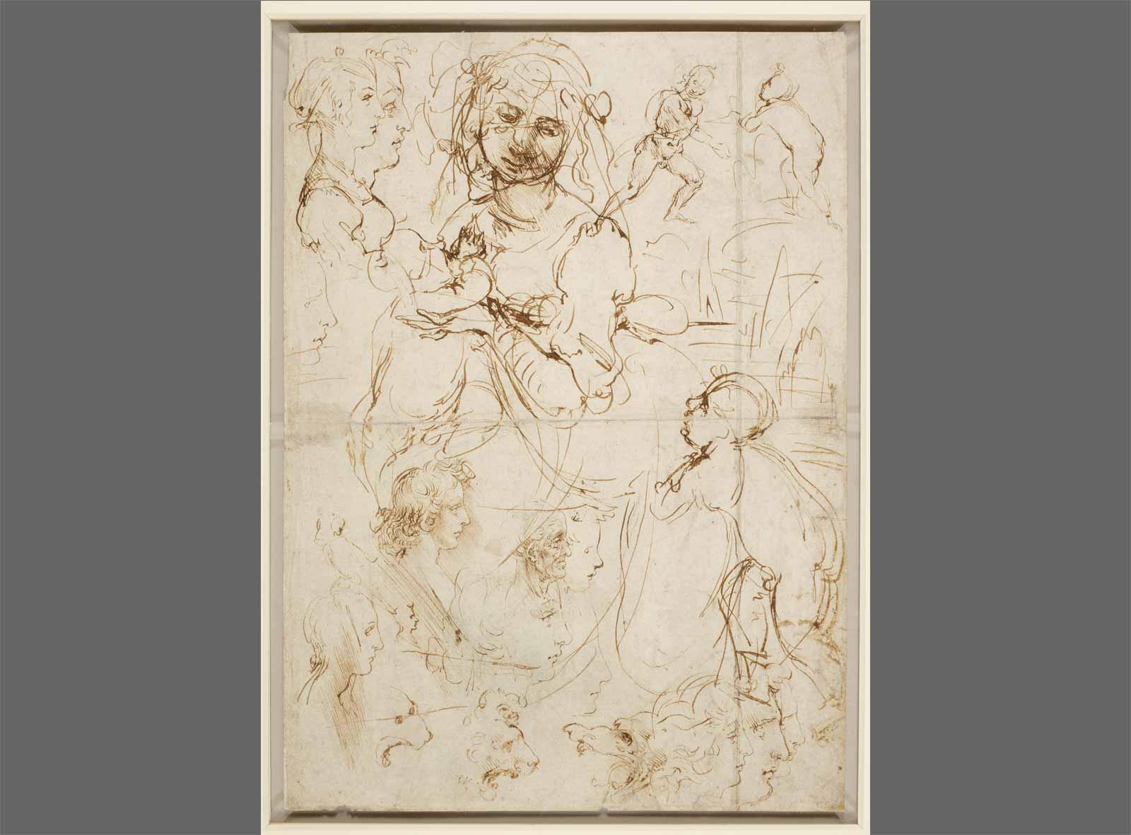 Leonardo da Vinci Sketches of Heads and Figures