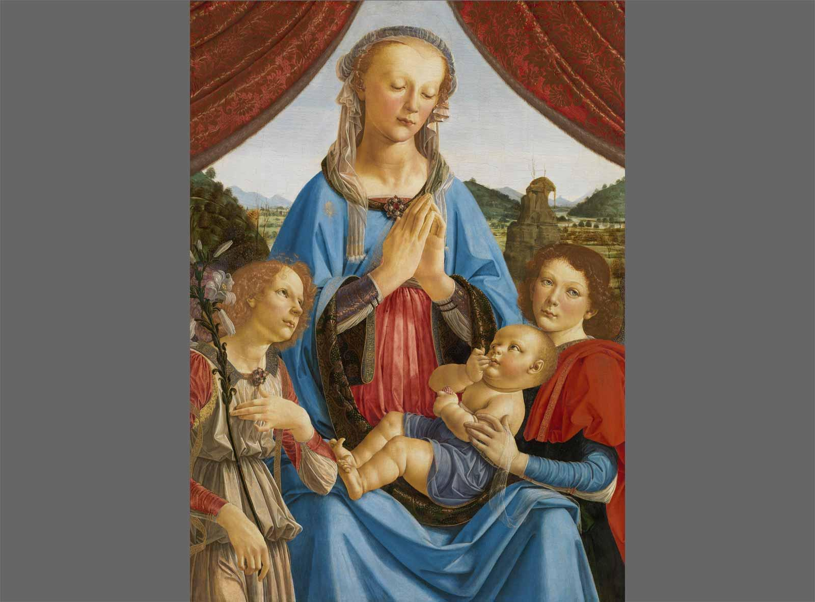 Andrea del Verrocchio The Virgin and Child with Two Angels.