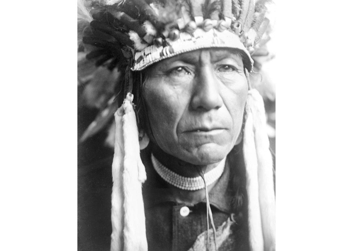 Head-and-shoulders portrait of Nez Percé man in full feather headdress, 1910.