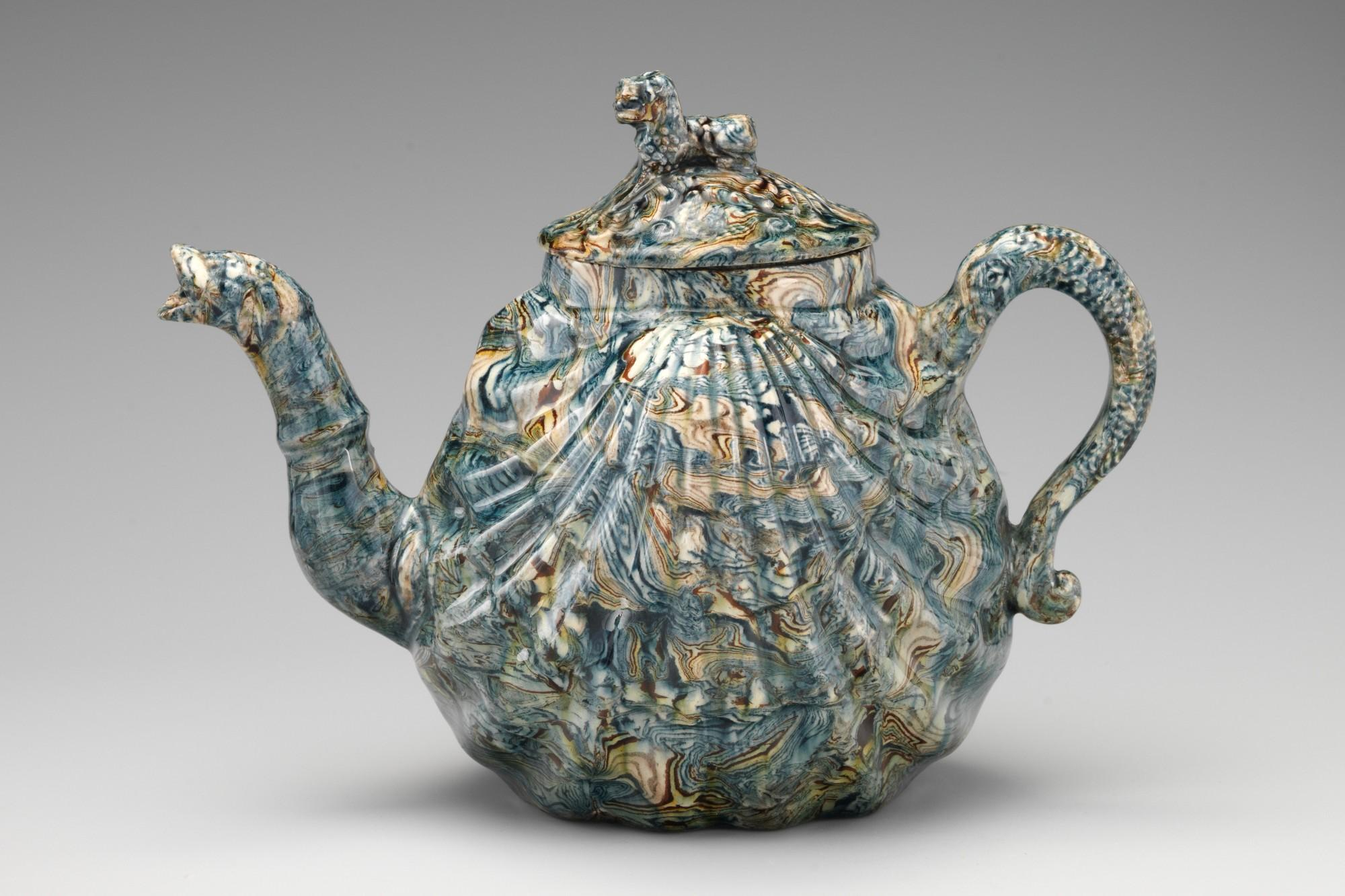 Style of Whieldon type, Teapot with cover, mid-18th century. Solid agateware.