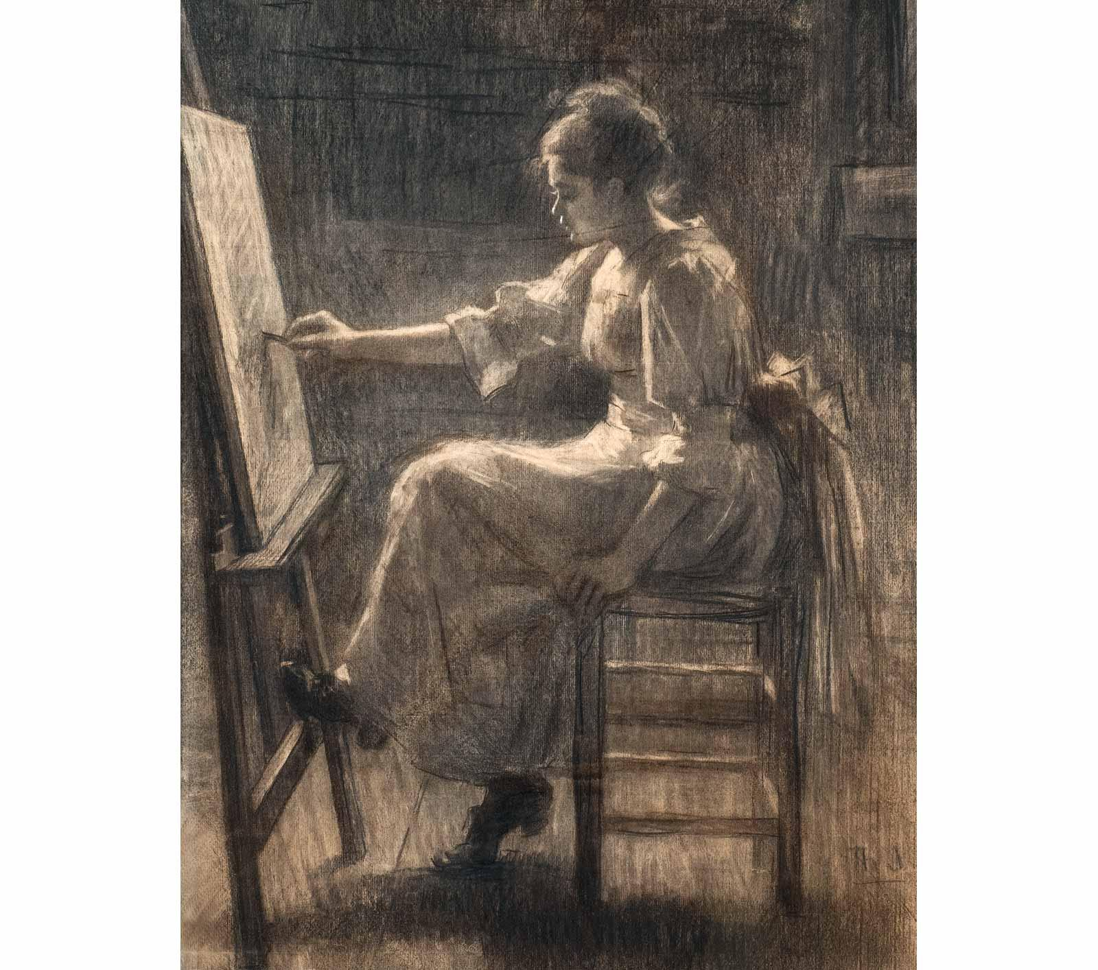 Thérèse Schwartze, 'In the Studio', representing the paintress Lizzy Ansingh, c. 1895.