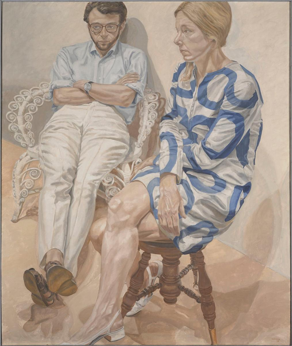 "Philip Pearlstein , ""Portrait of Linda Nochlin and Richard Pommer"""