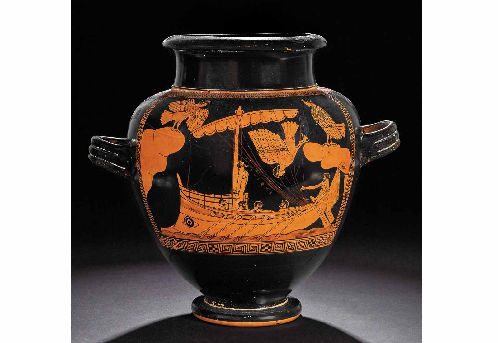Odysseus and the Sirens, Athenian jar, c.480-470BC.