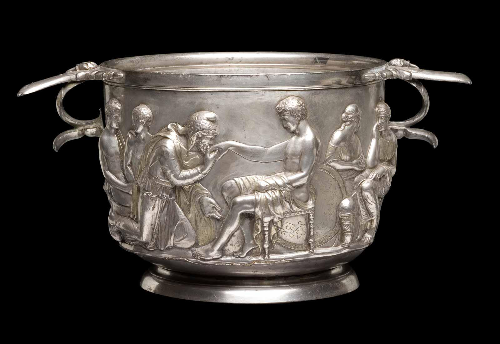 Priam and Achilles, Roman silver cup, 1st century AD.