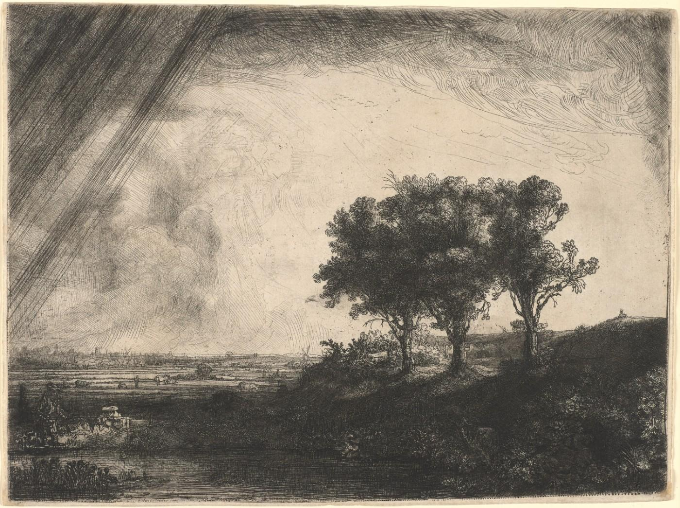 Rembrandt van Rijn (Dutch, 1606–1669), Landscape with Three Trees, 1643