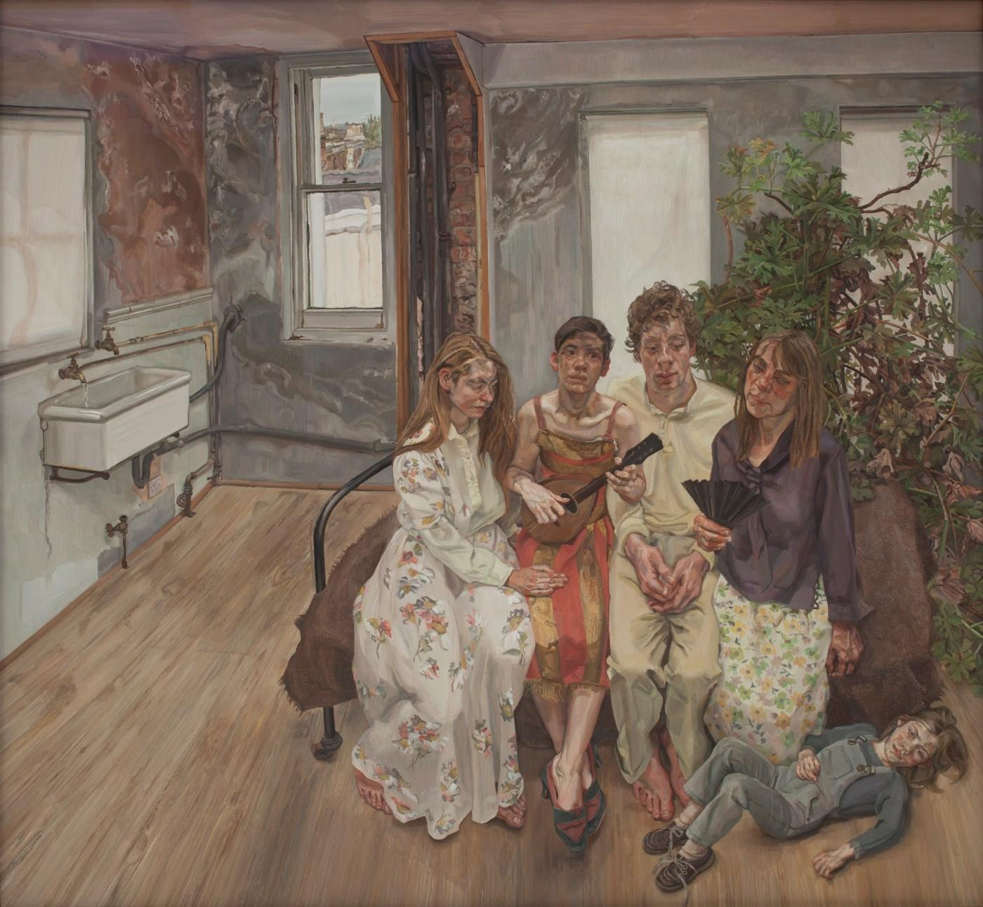 Lucian Freud, Large Interior, W11 (after Watteau), 1981-1983. Oil on canvas, 73 x 78 inches. Paul G. Allen Family Collection.