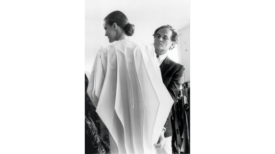 "Pierre Cardin developing his ""Computer"" coat, 1980."