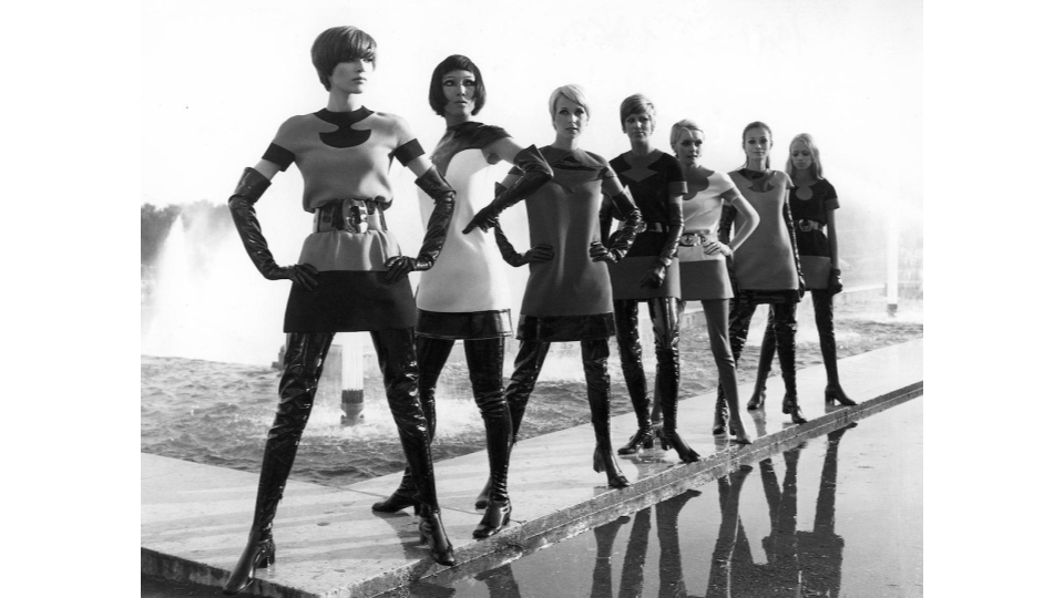 Pierre Cardin two-tone jersey dresses, with vinyl waders, 1969.