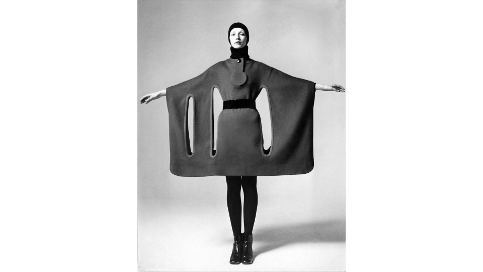 Pierre Cardin wool dress with cutouts, 1971.