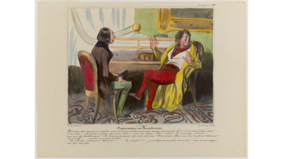 Honoré Daumier, Preparing for the baccalaureate. color lithograph