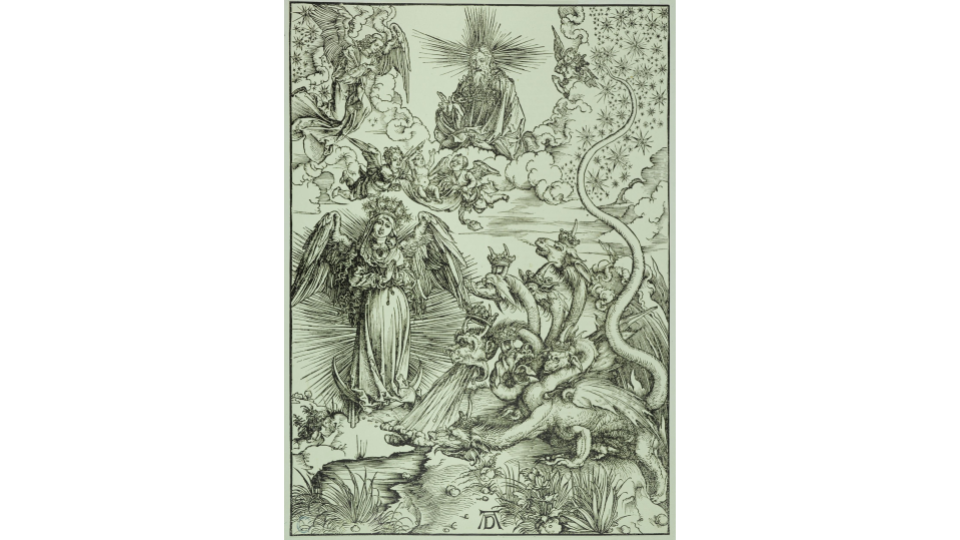 Albrecht Durer, The Apocalypse (Latin Edition): The Woman of the Apocalypse and the Dragon with seven heads (Bartsch 71), c. 1497. Petit Palais, Museum of Fine Arts of the City of Paris. engraving