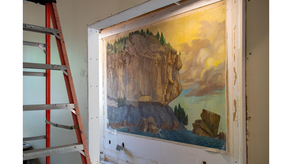 Recently recovered WPA mural at the University of Vermont