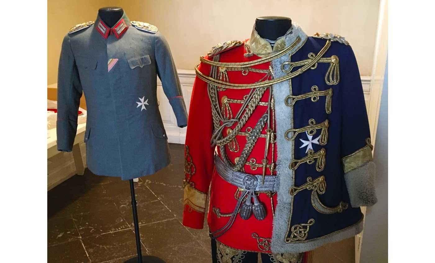 Uniforms belonging to Kaiser Wilhelm II on display at the Neues Palais, Potsdam.