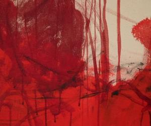 Close up of red, dripping painting by Emin
