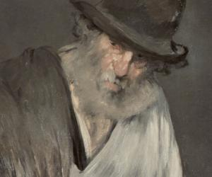 Detail of Manet painting of older man with walking stick