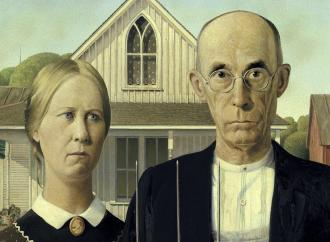 American gothic, close up of two figures described in story.