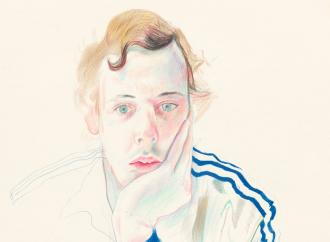 David Hockney drawing of a man wearing a track jacket with his chin resting in his palm