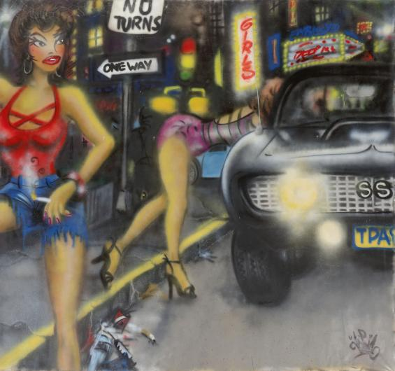 Lady Pink spraypaint painting of women working the street with a car