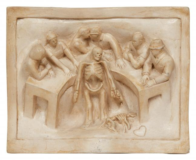 Tom Otterness bas relief sculpture of figures at a table with a skeleton