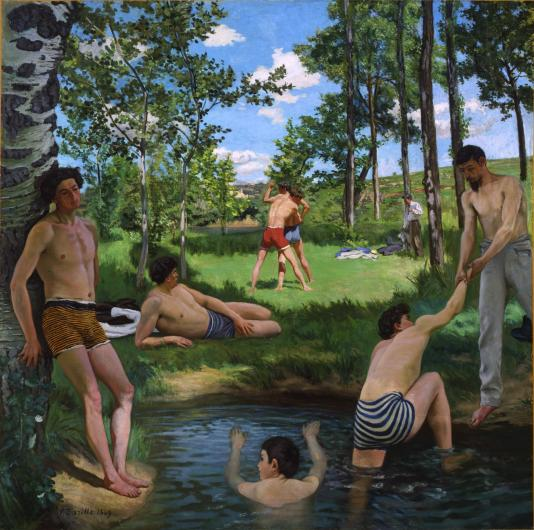 Bazille painting of young men at a swimming hole wearing striped briefs