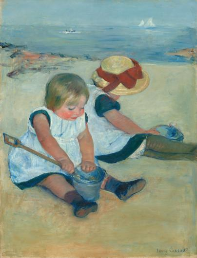 Mary Cassatt painting of two children in white frocks sitting on a sandy beach with pails