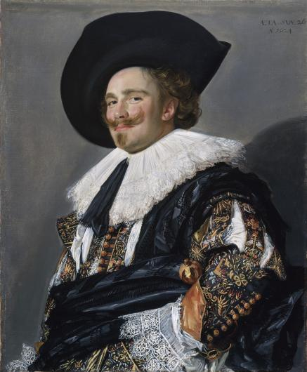 Frans Hals portrait of a white man with red hair and moustache wearing a black hat and intricate clothing, including lace collar