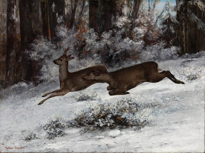 Courbet painting of two deer leaping in the snow