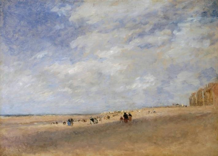 David Cox painting of a large beach with sky and clouds