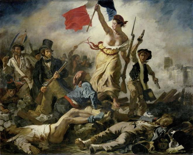 Eugene Delacroix's Liberty Leading the People painting of an allegorical female figure waving the french flag atop a pile of fallen soldiers amidst a battle scene