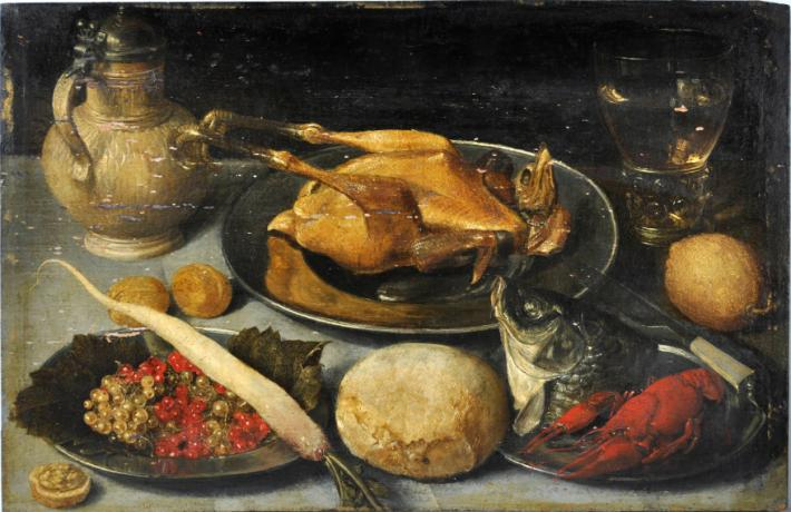 17th century still life of table top with roasted fowl, fish, and more