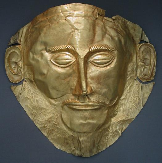 "Funeral mask also known as ""Agamemnon Mask,"" 16th century BC. Gold. National Archeological Museum, Athens. Photo by DieBuch. Wikimedia Commons."