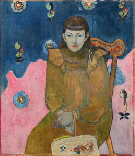Gauguin portrait of a young white woman with bangs seated in a chair with a pink and blue background