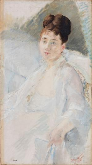 Eva Gonzales impressionist portrait of a woman in white
