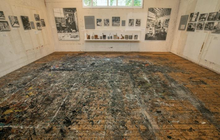 Floor of Jackson Pollock and Lee Krasner Studio, covered in splatters of paint