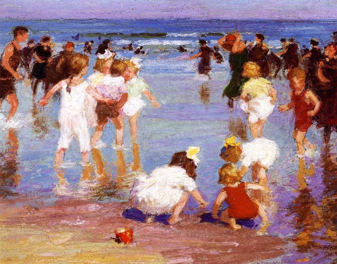 Potthast painting of a crowd of people at the beach