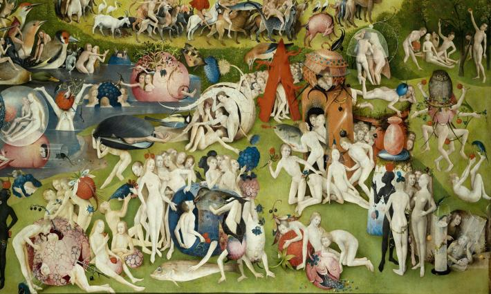 Hieronymus Bosch, detail of central, interior panel in The Garden of Earthly Delights. Oil on oak panels. 81 in × 152 in. Museo del Prado, Madrid.