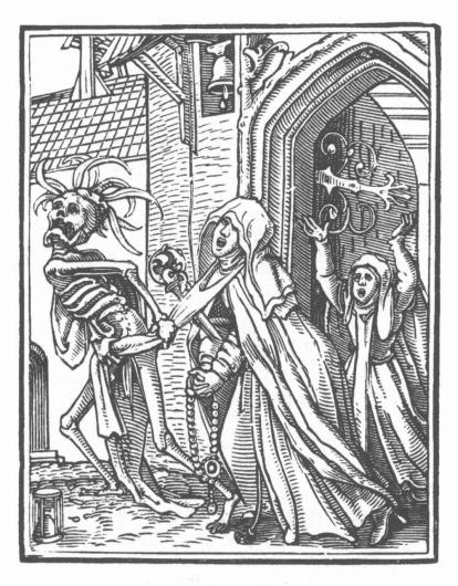 Hans Holbein woodblock print of a woman being dragged away by a skeleton