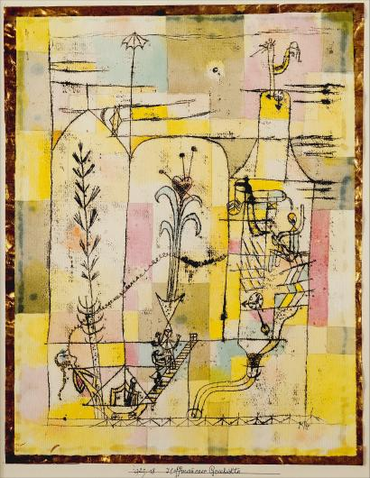 Paul Klee watercolor and ink painting of flowers with a pink, yellow and blue abstract background