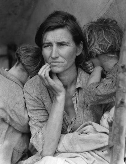Florence Owens Thompson seen in the photo Destitute Pea Pickers in California. Mother of Seven Children. by Dorothea Lange